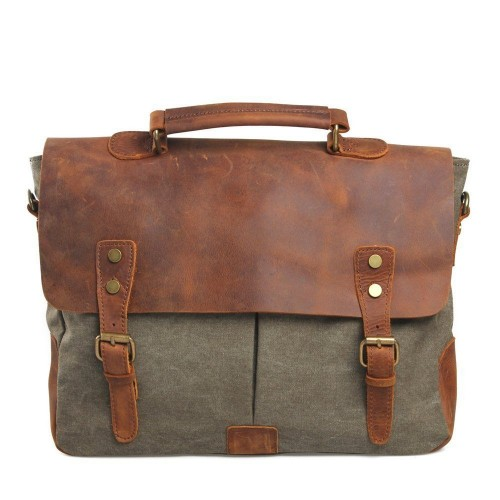 Ecosusi Men Casual Genuine Leather Messenger Laptop Briefcase Satchel Bag