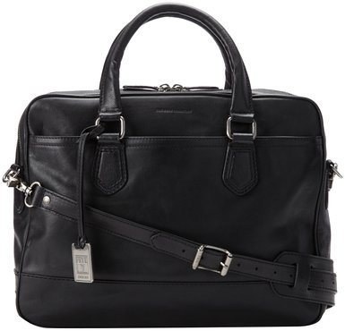FRYE Mens James Tumbled Grain Work Zip Briefcase