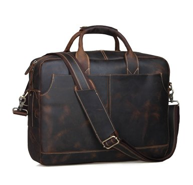 Polare Thick Genuine Mens Auth Real Leather Messenger Laptop Briefcase Satchel Bag